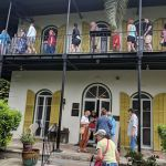 Tourists visiting the Hemingway House in Key West
